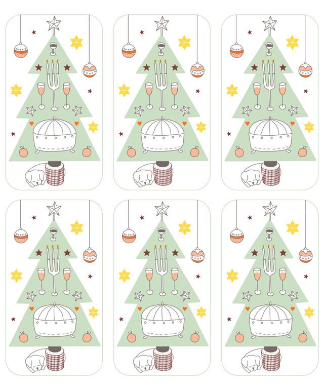 Menukaartjes voor het kerstdiner