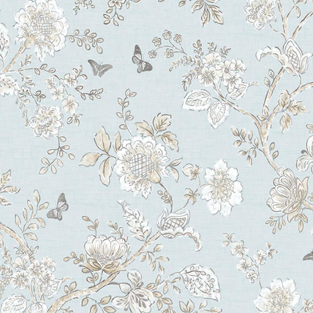 papierbehang bloemen blauw wit