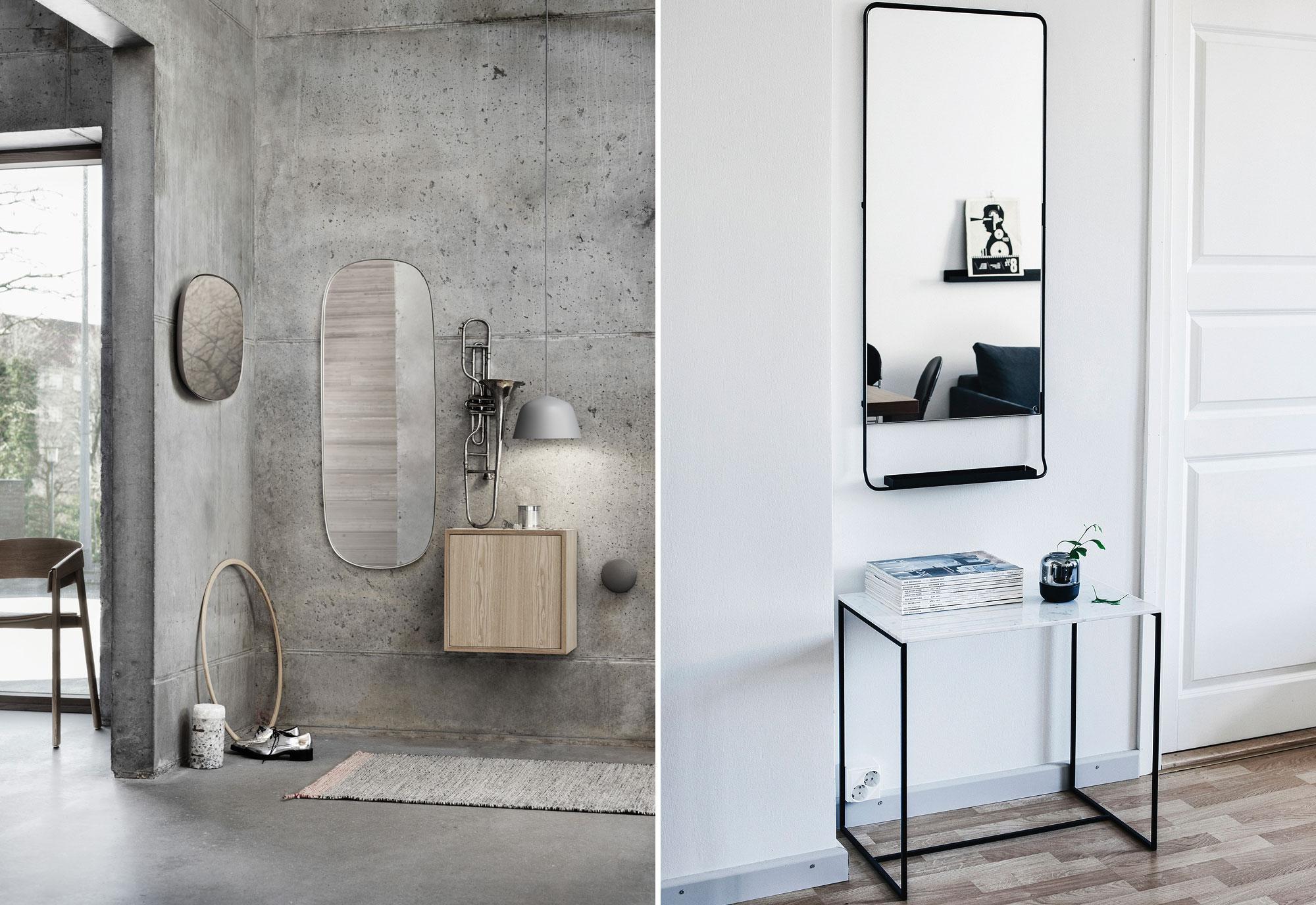 Spiegel aan de muur - Betonmuur - Hal