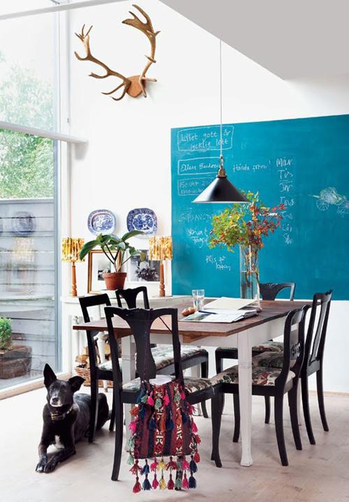 Turquoise schoolbordverf