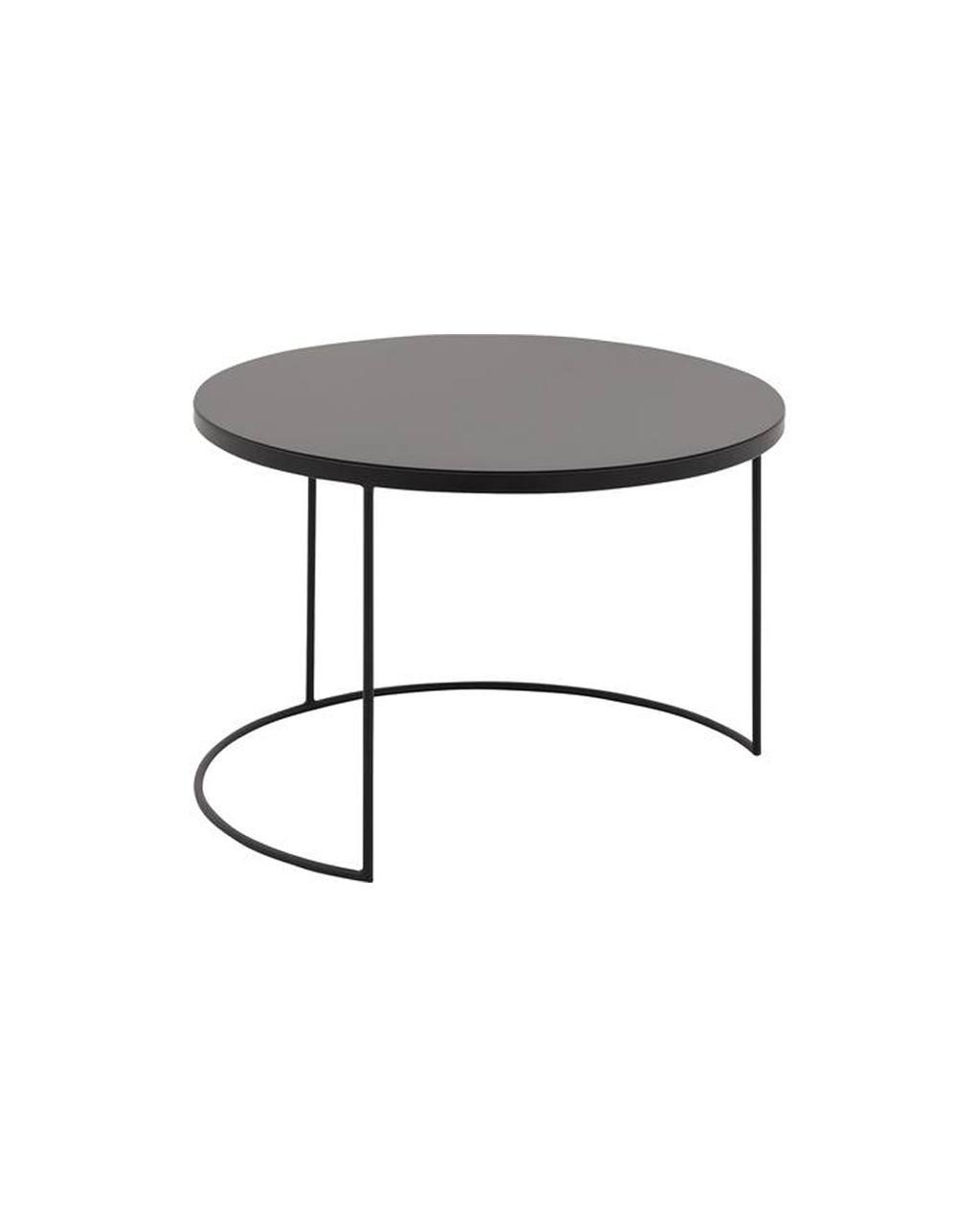 Zwarte salontafel met metalen poten