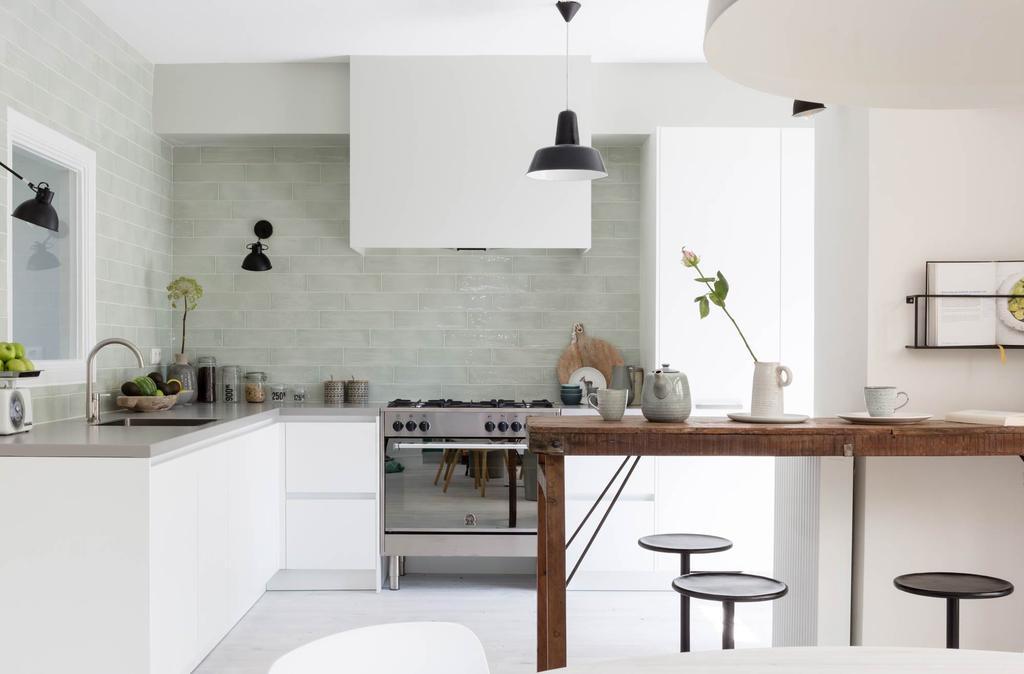 keuken groene keukentegels