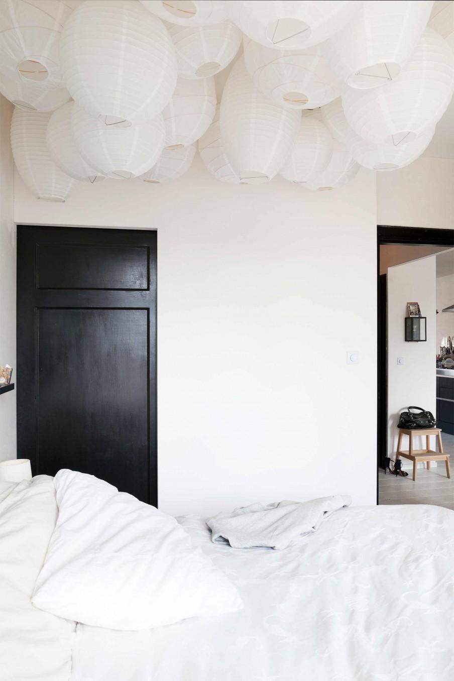 chambre a coucher noire et blanche