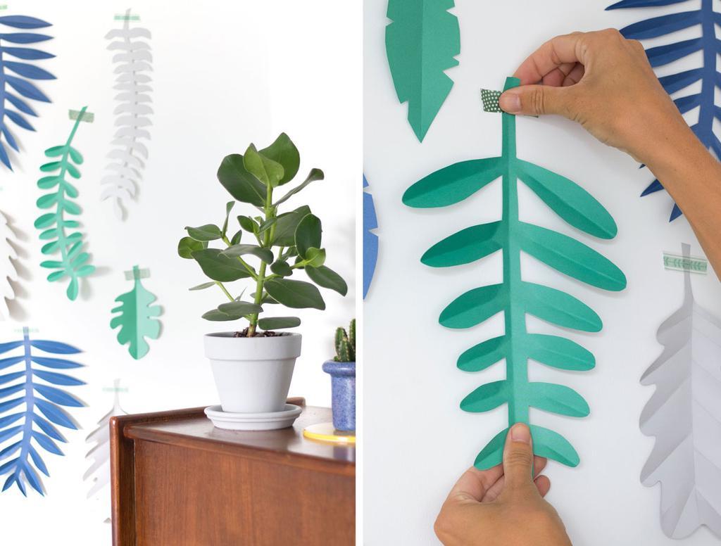 Groene en blauwe bladeren van papier