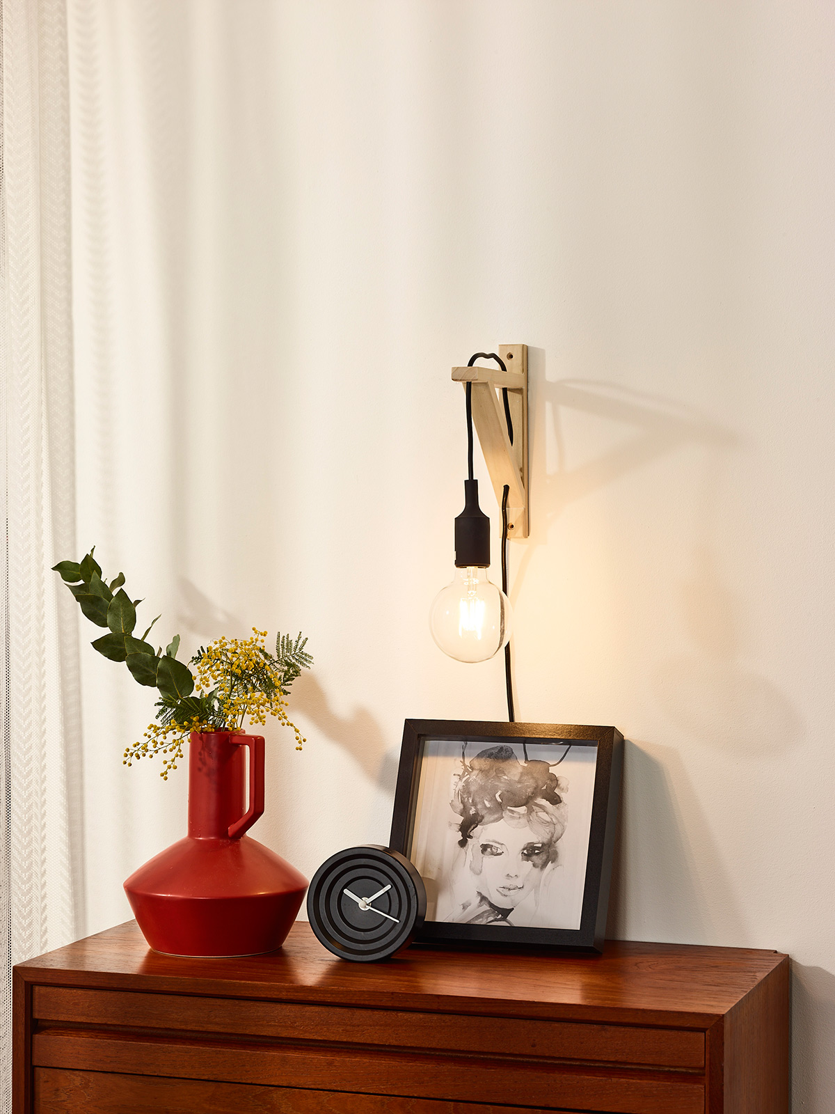 Wandlamp hout zwart