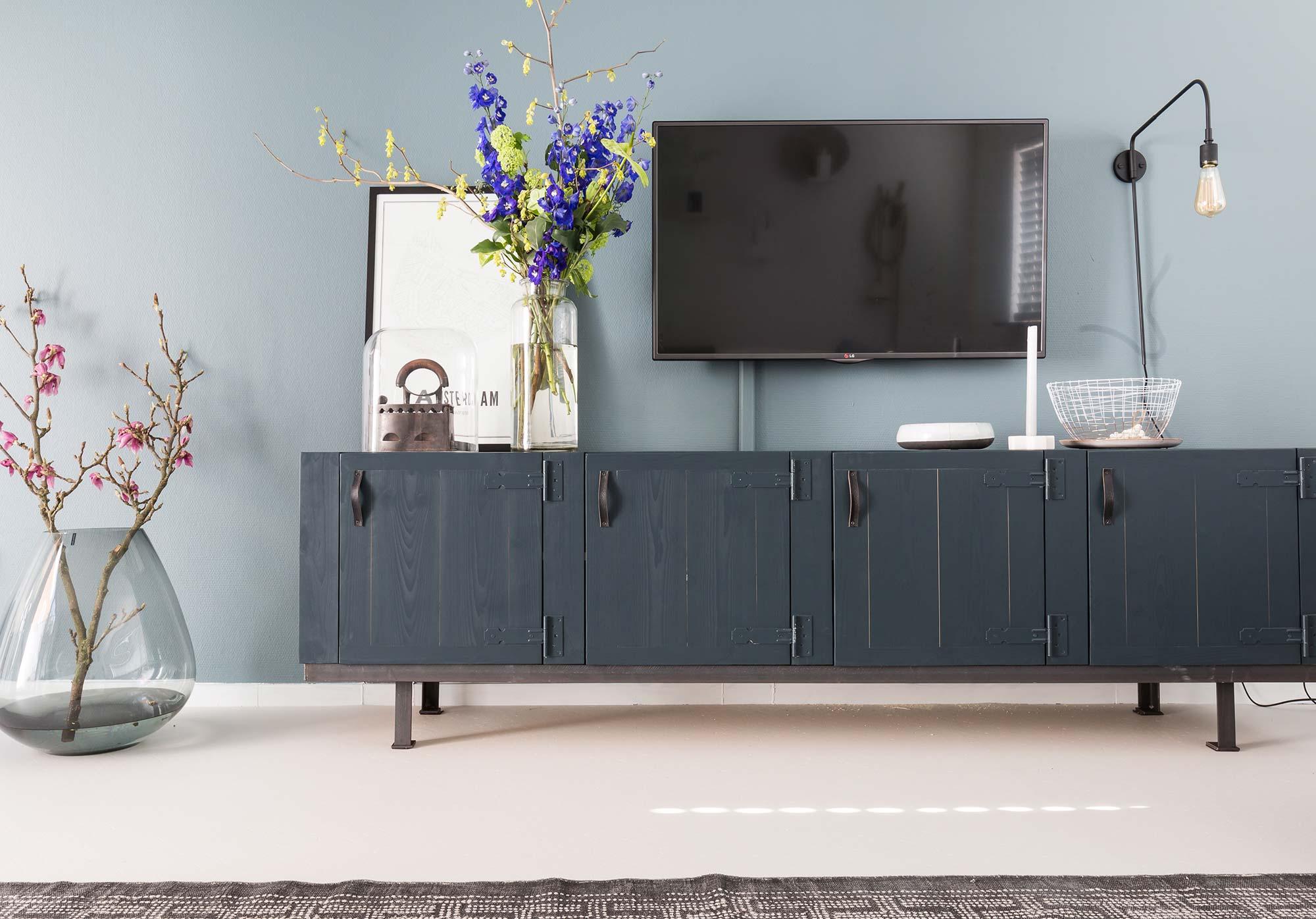 blauw tv dressoir