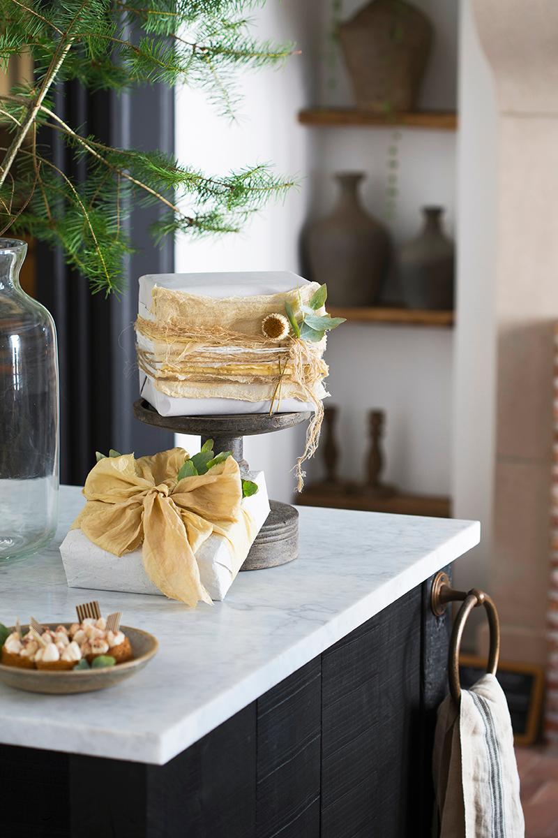 kerst 3x eucalytpus cadeau Style Rustique
