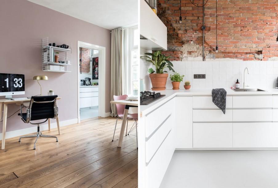 Coin bureau avec un mur rose et une cuisine blanche avec un ancien mur de briques