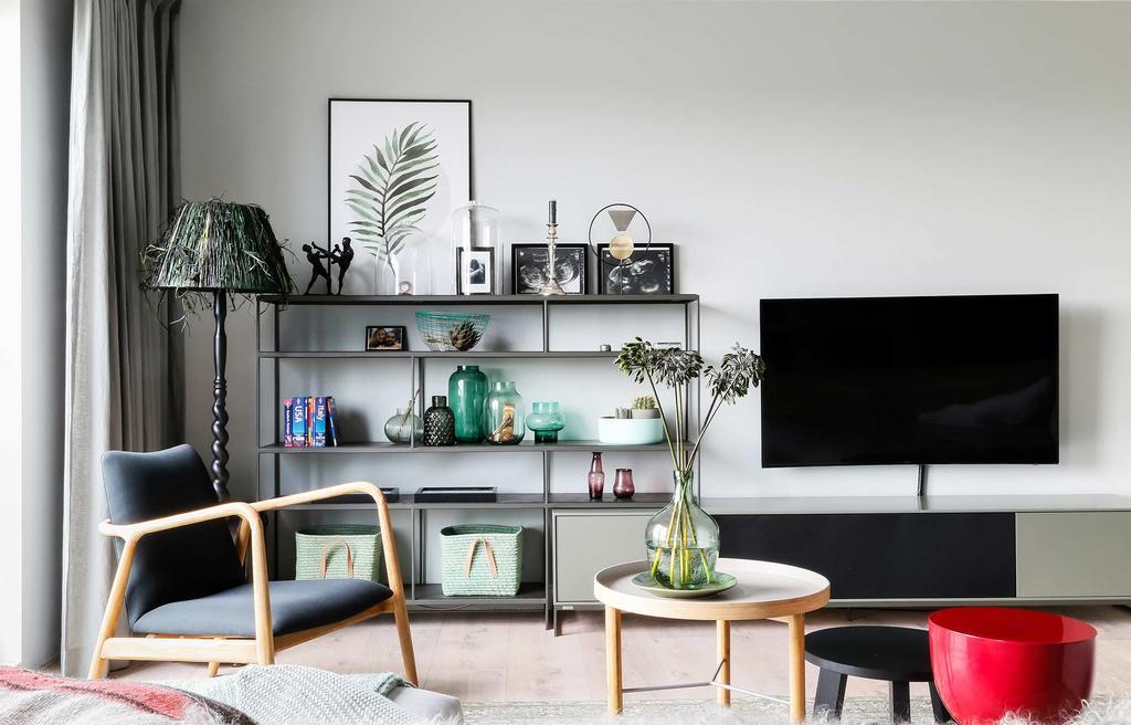 tv dressoir vakkenkast groen