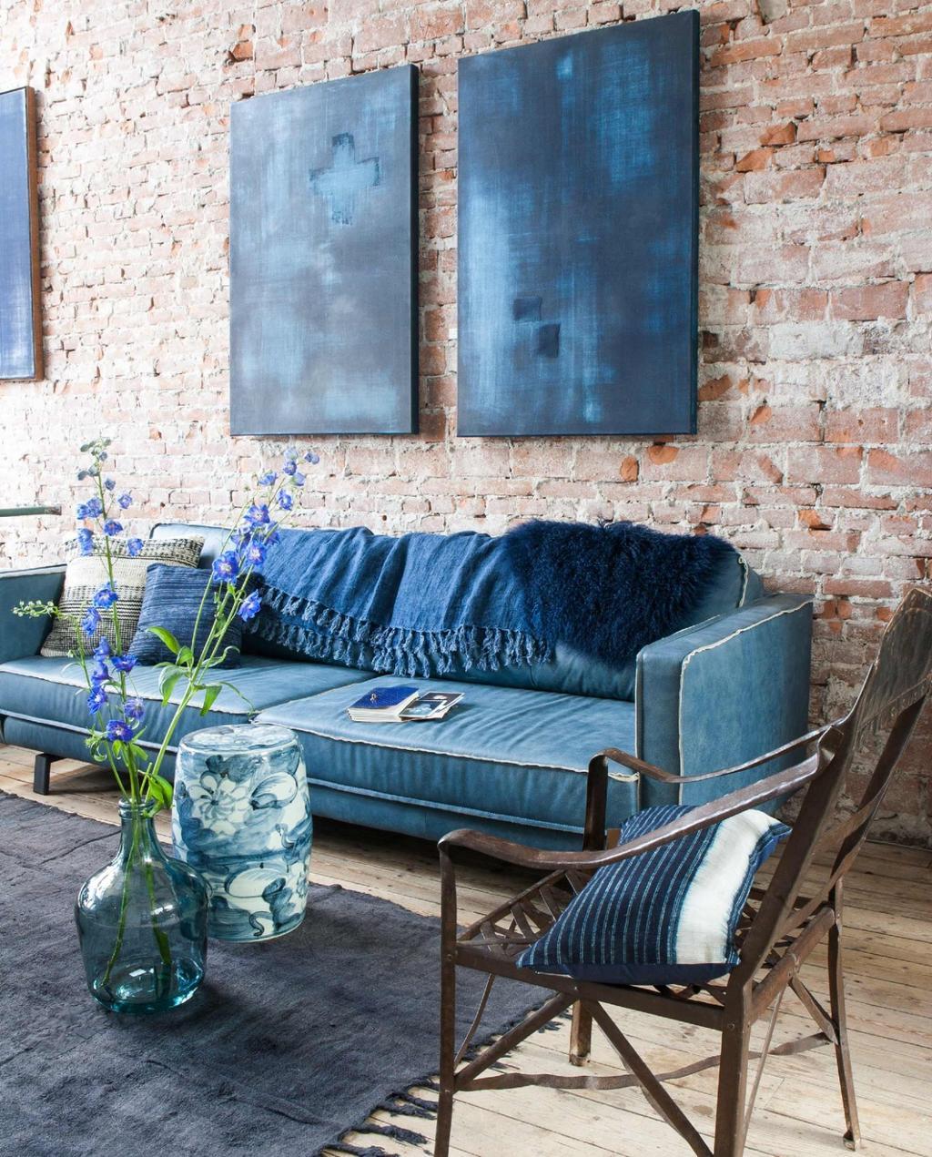 Indigo blauw interieur