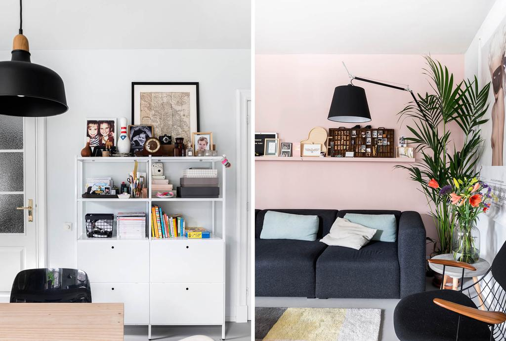 vtwonen binnenkijken in een woonkamer met roze wand