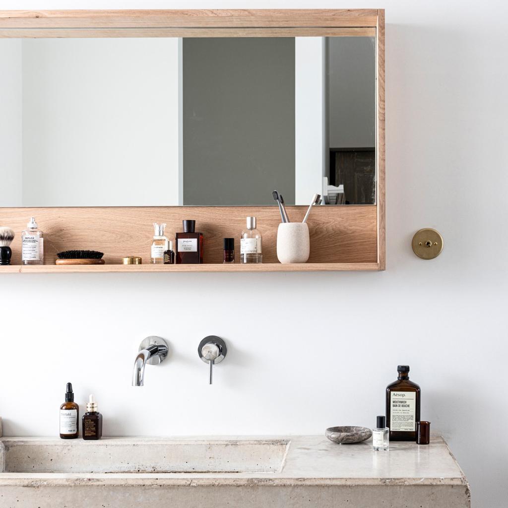 vtwonen badkamer spiegel diy zelfmakers hout beton