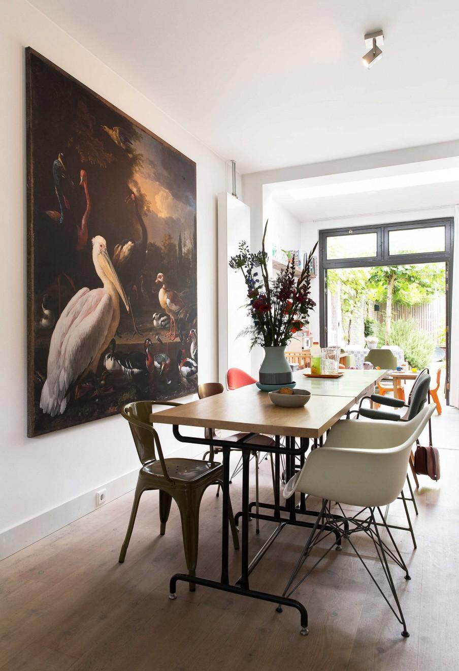 table à manger tableau oiseaux
