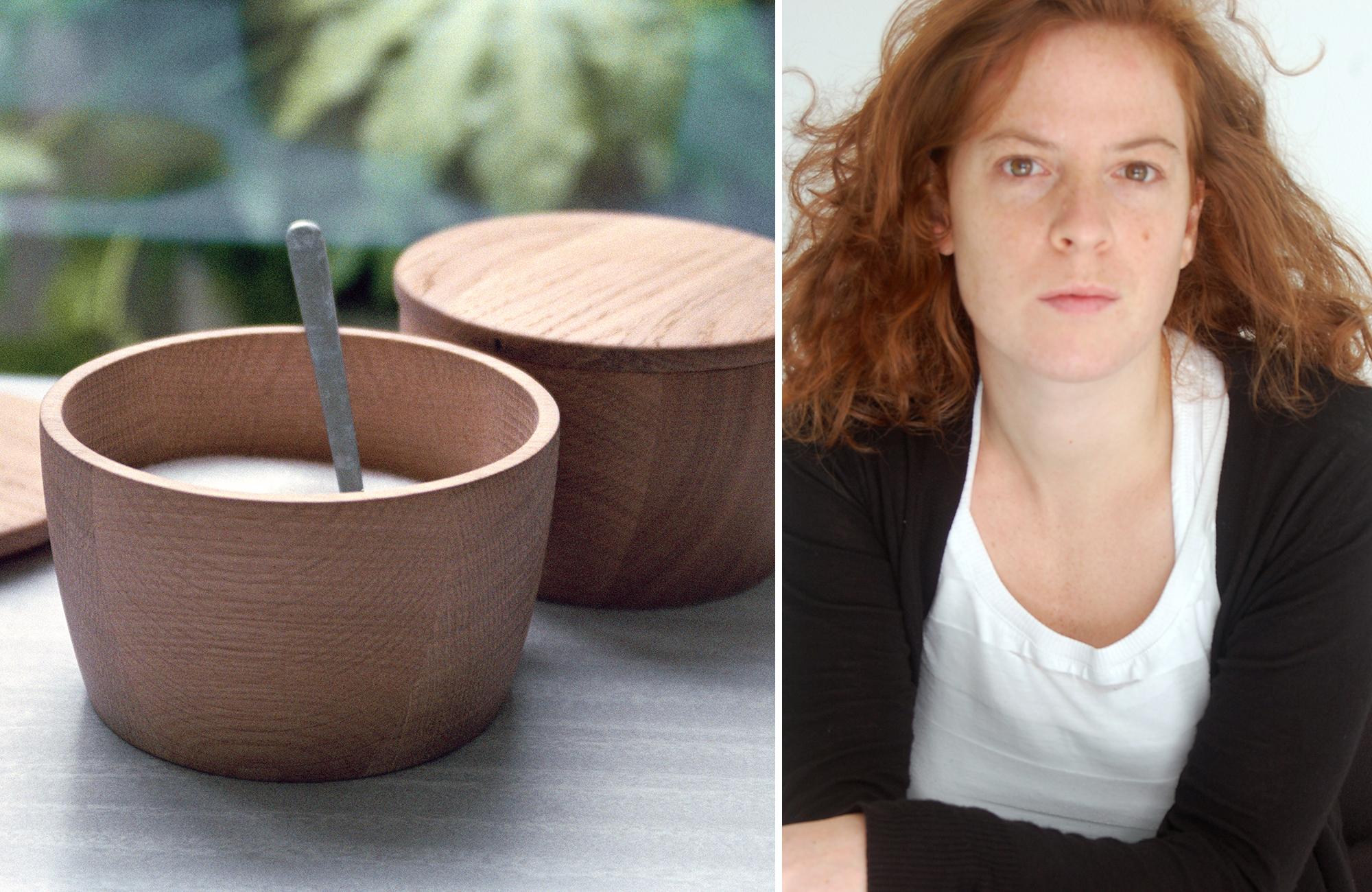 Marina Bautier met servies hout