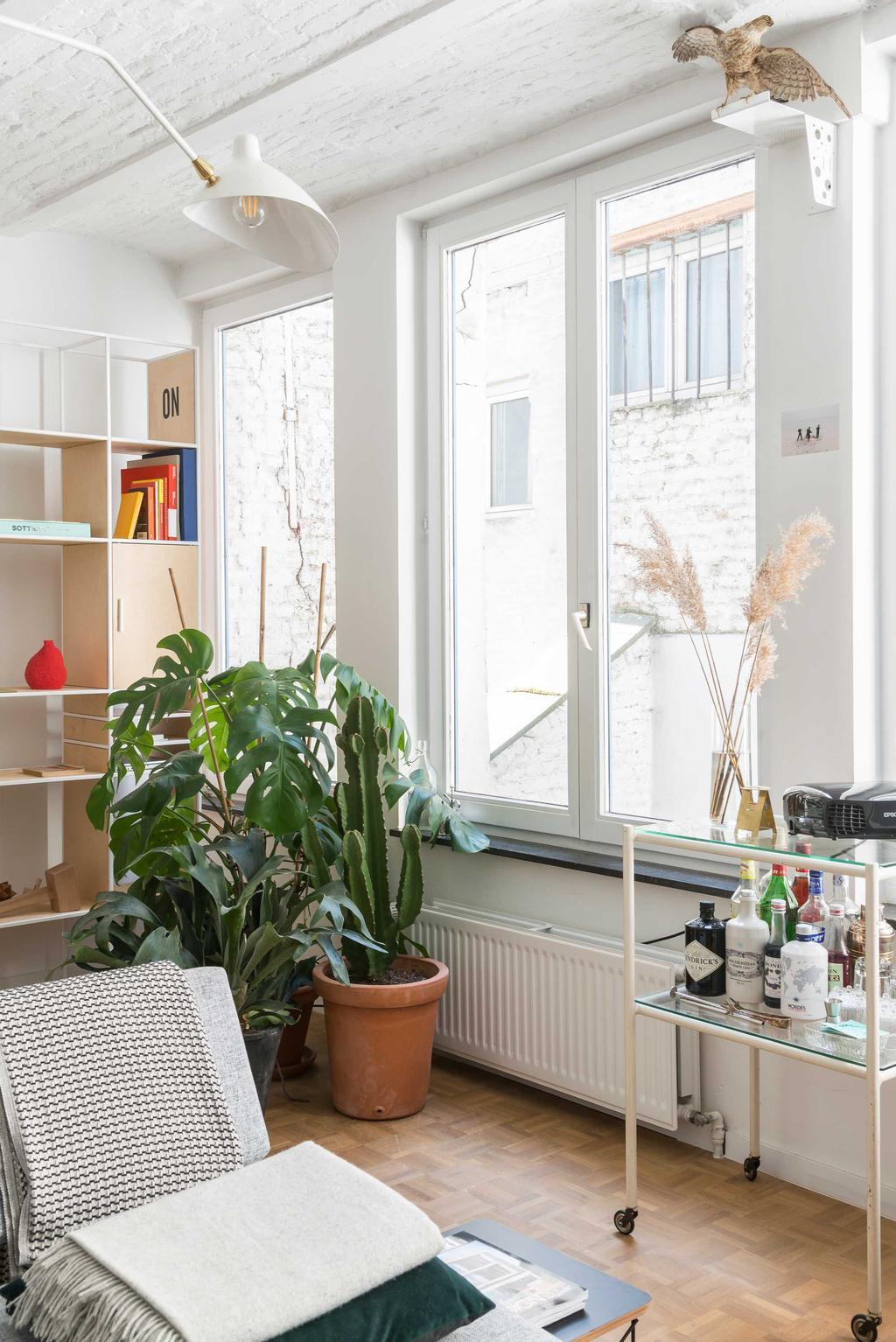 woonkamer wit planten kast