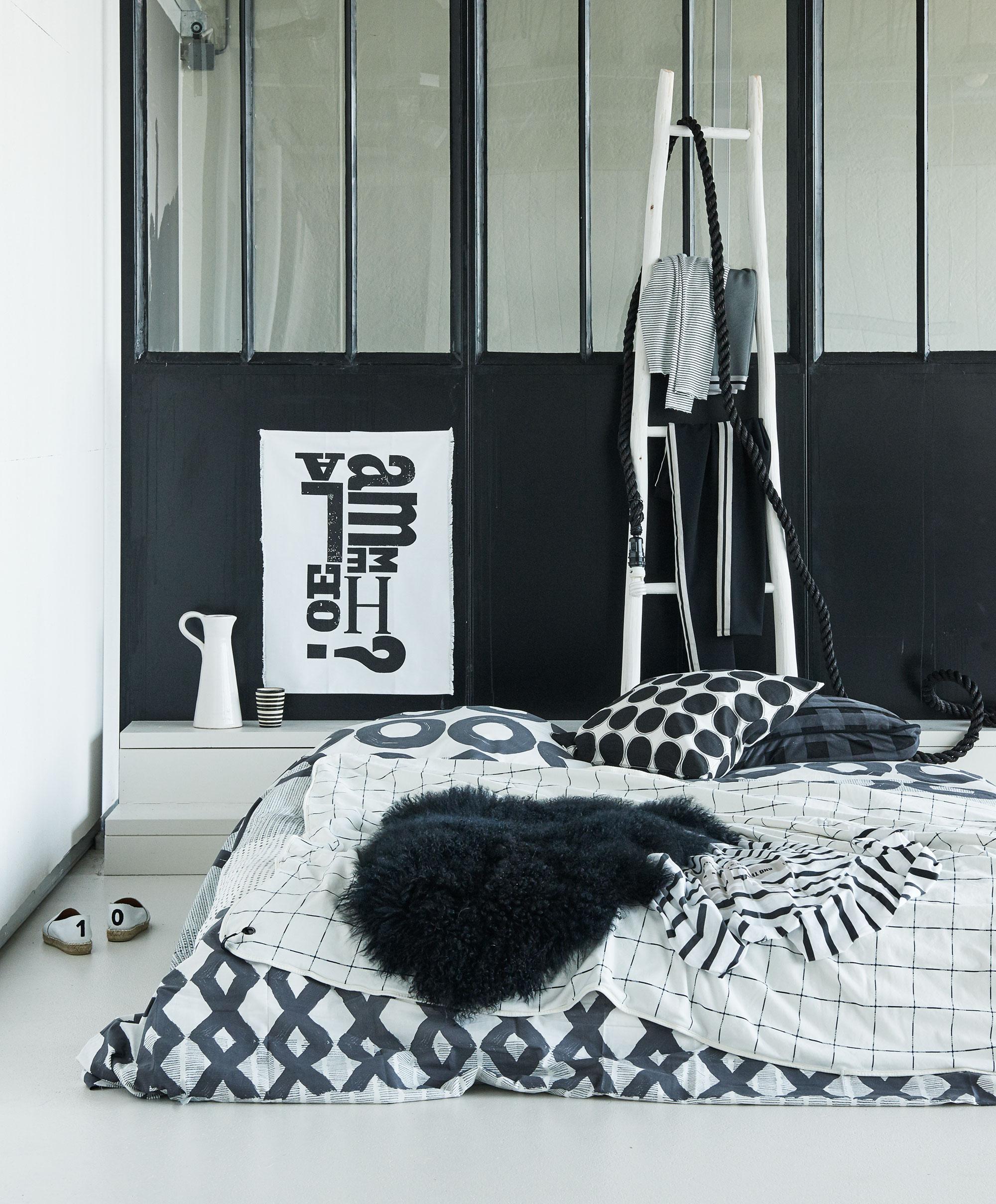 beddengoed zwart wit