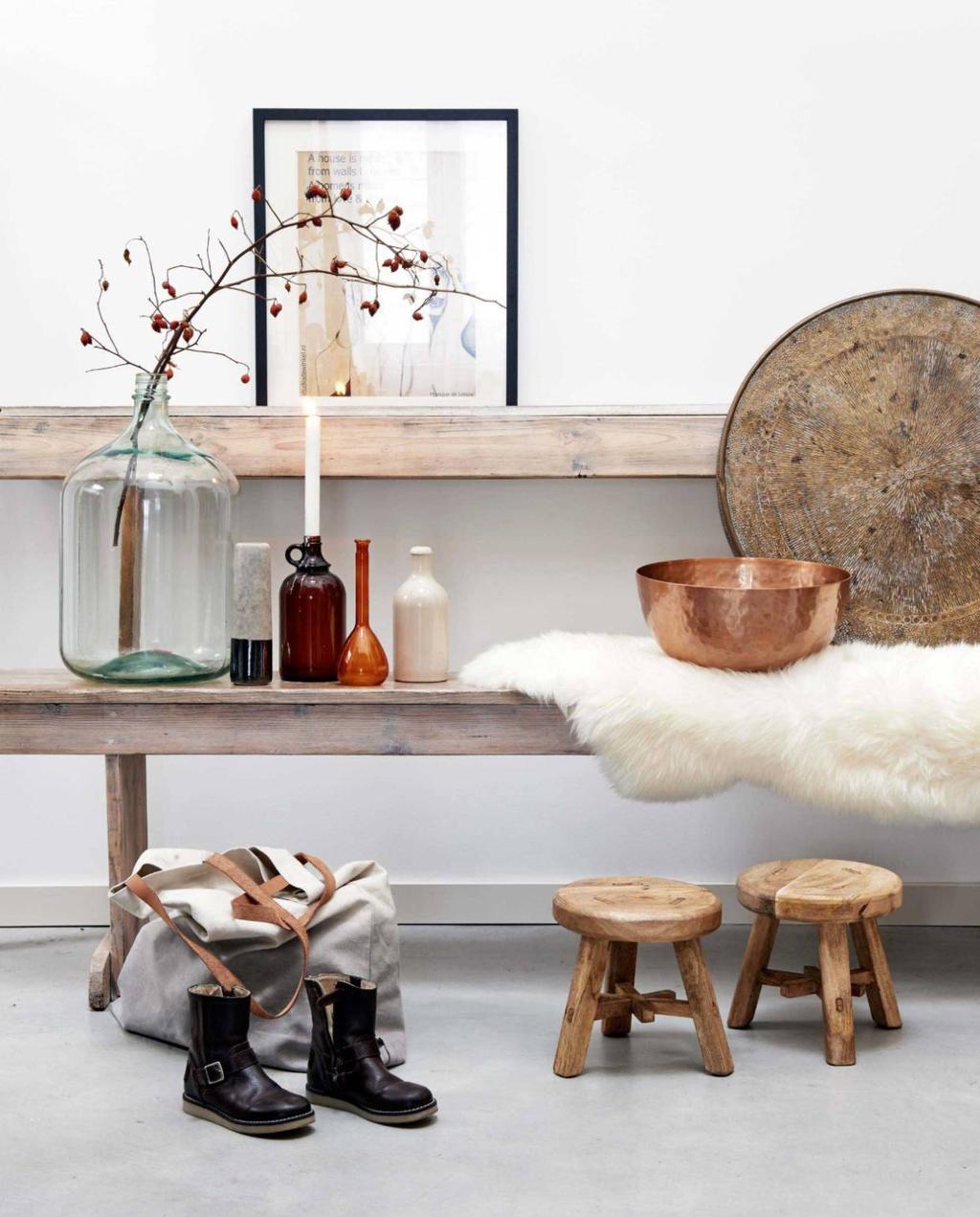 landelijk hal krukje hout bankje koper vtwonen | koper schoonmaken en poetsen
