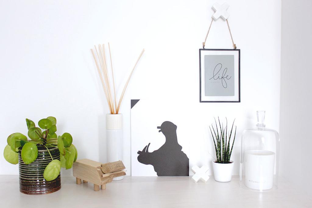 vtwonen posterboek poster in fotolijst met plant en geurstokjes