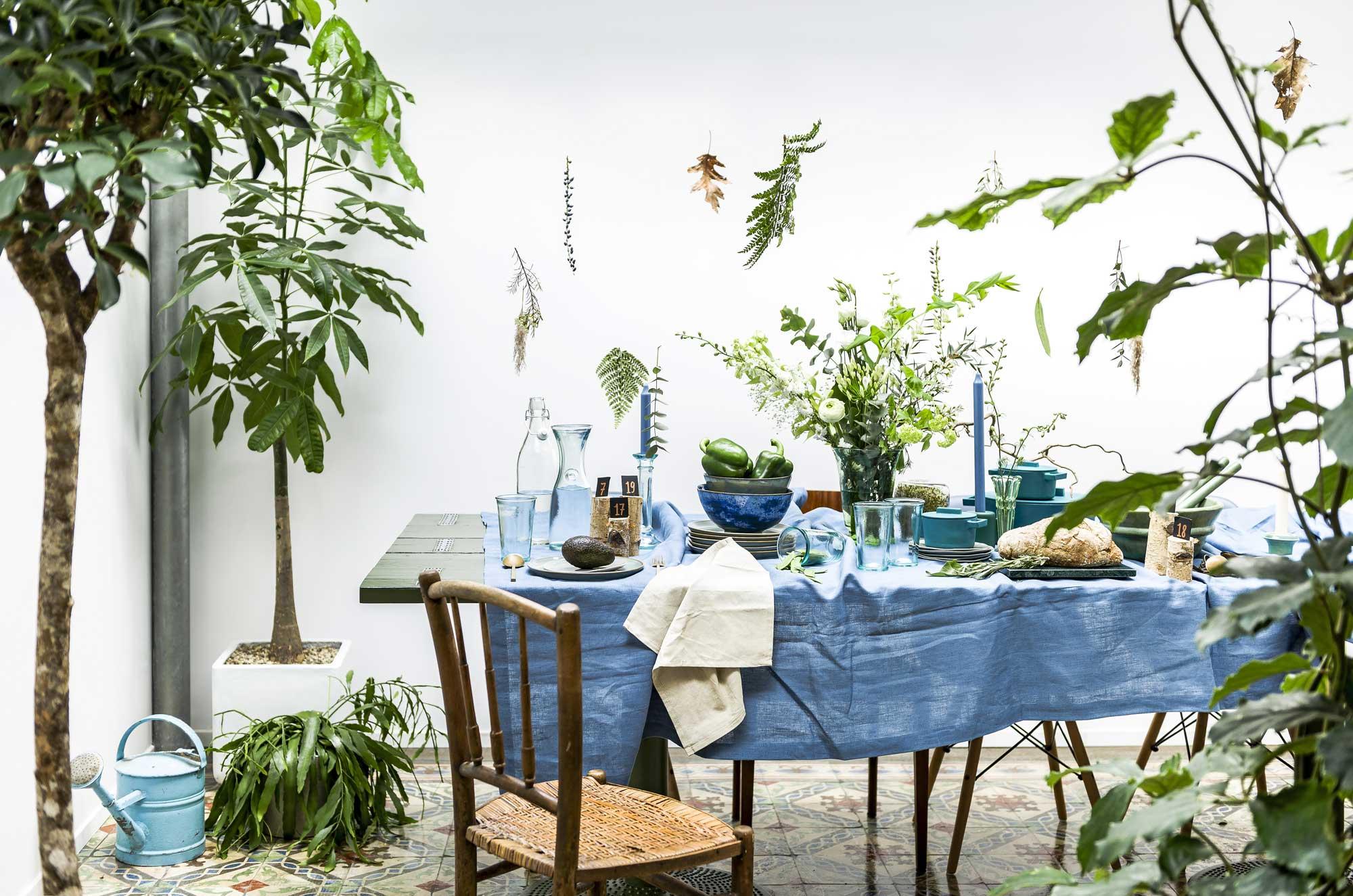 bloemetjesgordijn-groen-diy