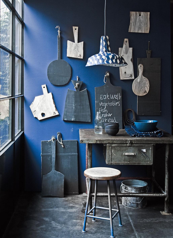 blauw en hout