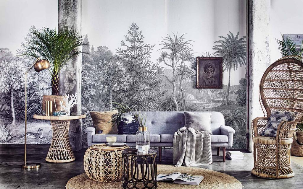 salon tapisserie grise mobilier en osier