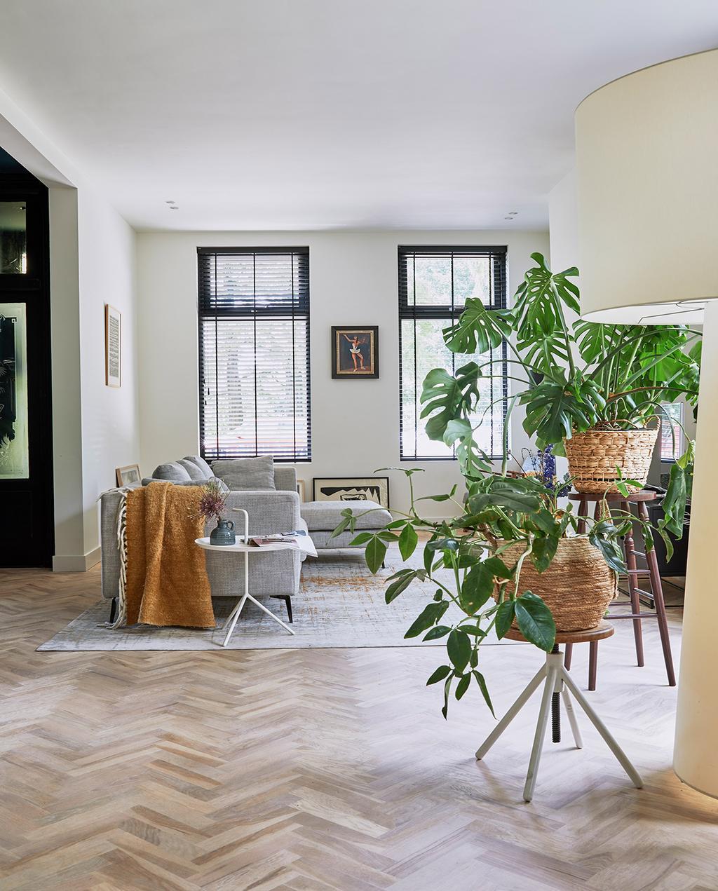 vtwonen 05-2021 | woonkamer met hoekbank grijs en planten | laminaat of parket