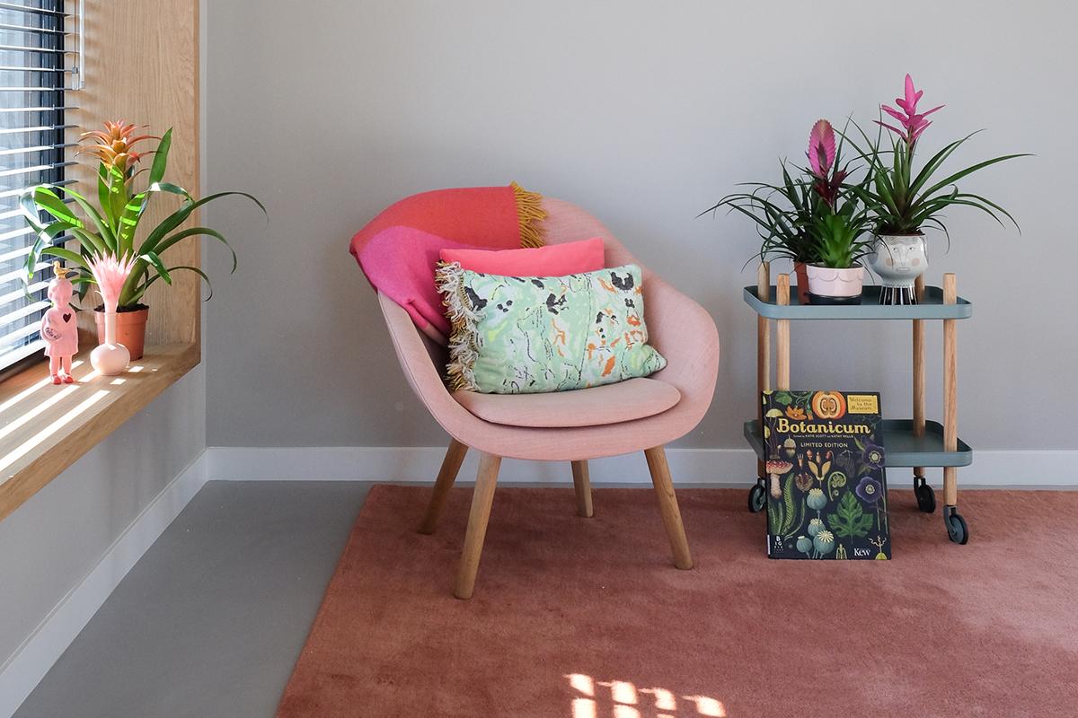 bromelia bijzettafel roze stoel roze tapijt vensterbank