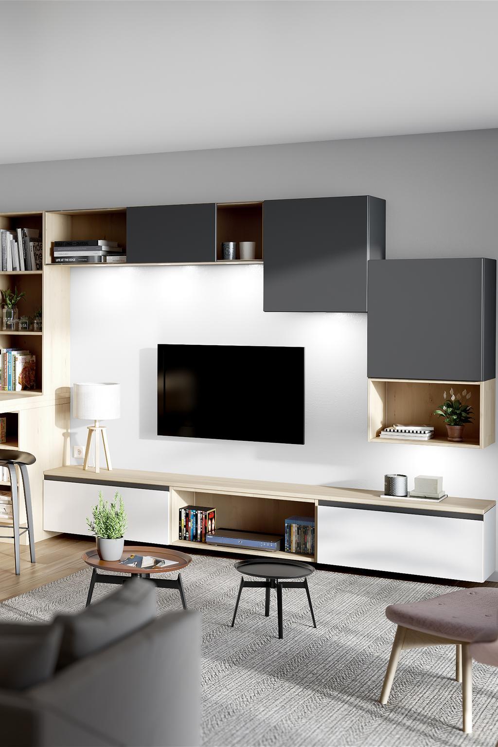 Tv-meubel met kasten in grijs en hout | maatwerk èggo