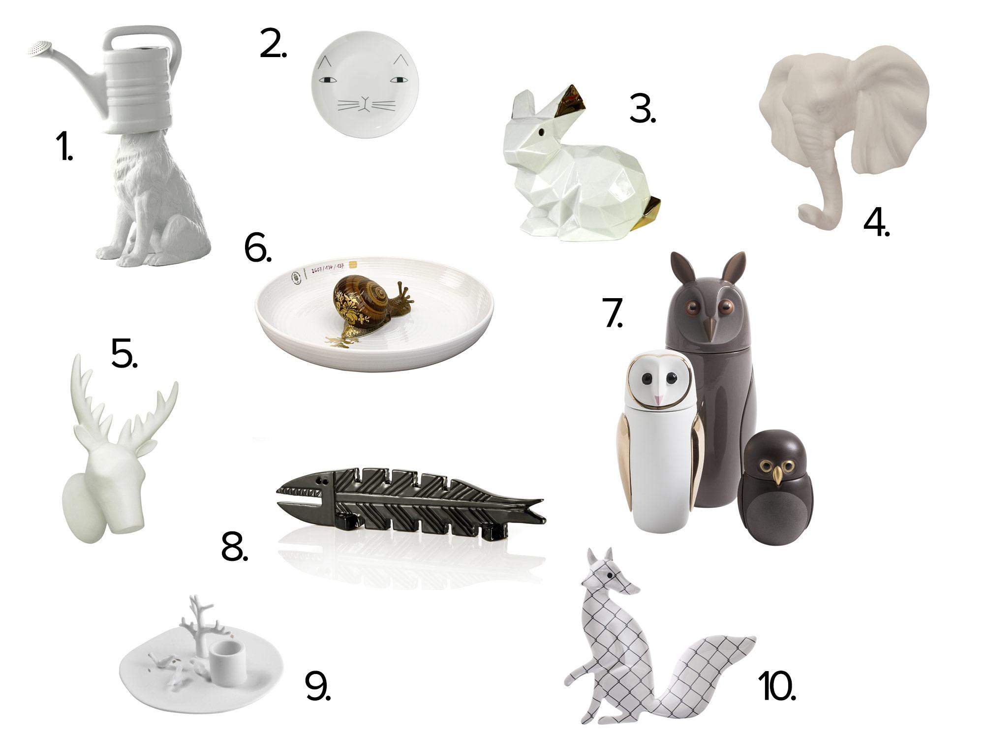 collage dieren porselein