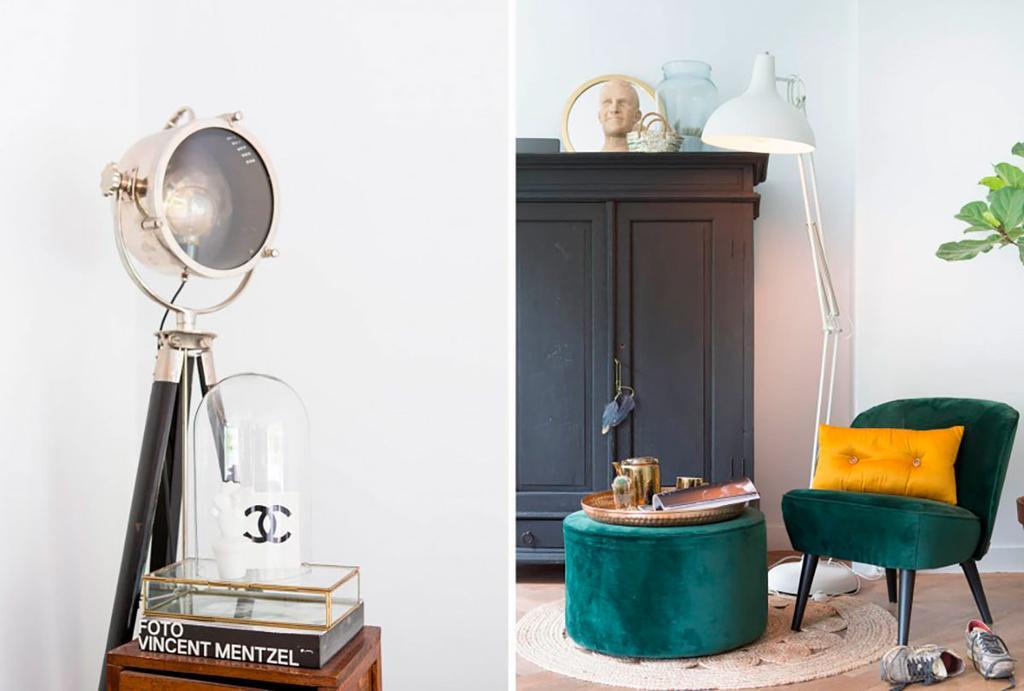 Lampe vintage et fauteuil et pouf velours vert