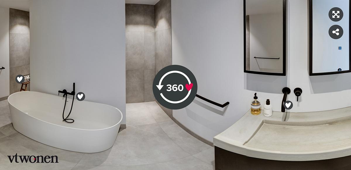 360 tour badkamer vrijstaand bad inloopdouche wastafel zwarte kraan en spiegels