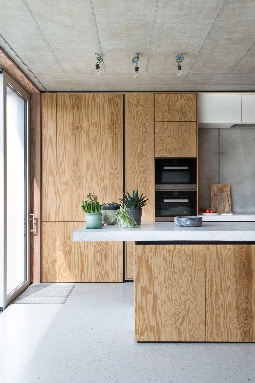 beton keuken hout