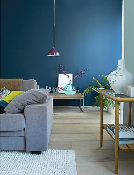 sfeervolle blauwe muur