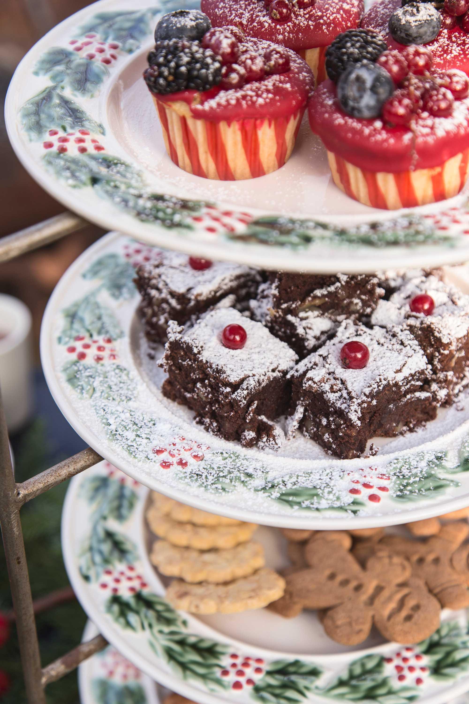 chocoladedesserts kerstmenu brownies onder de kersenboom