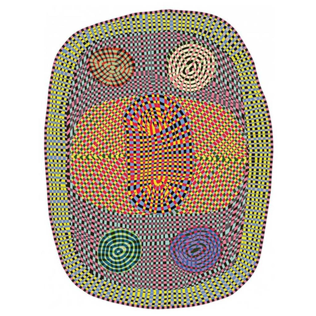 organisch vloerkleed in felle kleuren paars oranje blauw geel roze