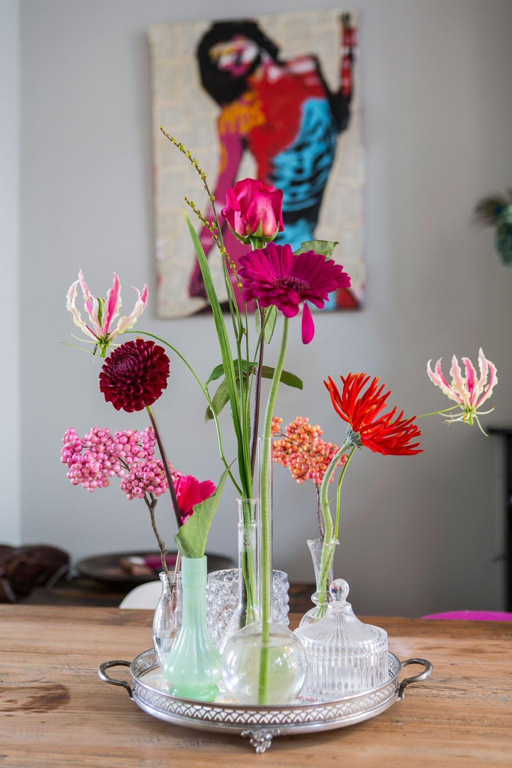 glazen bloemenvaasjes