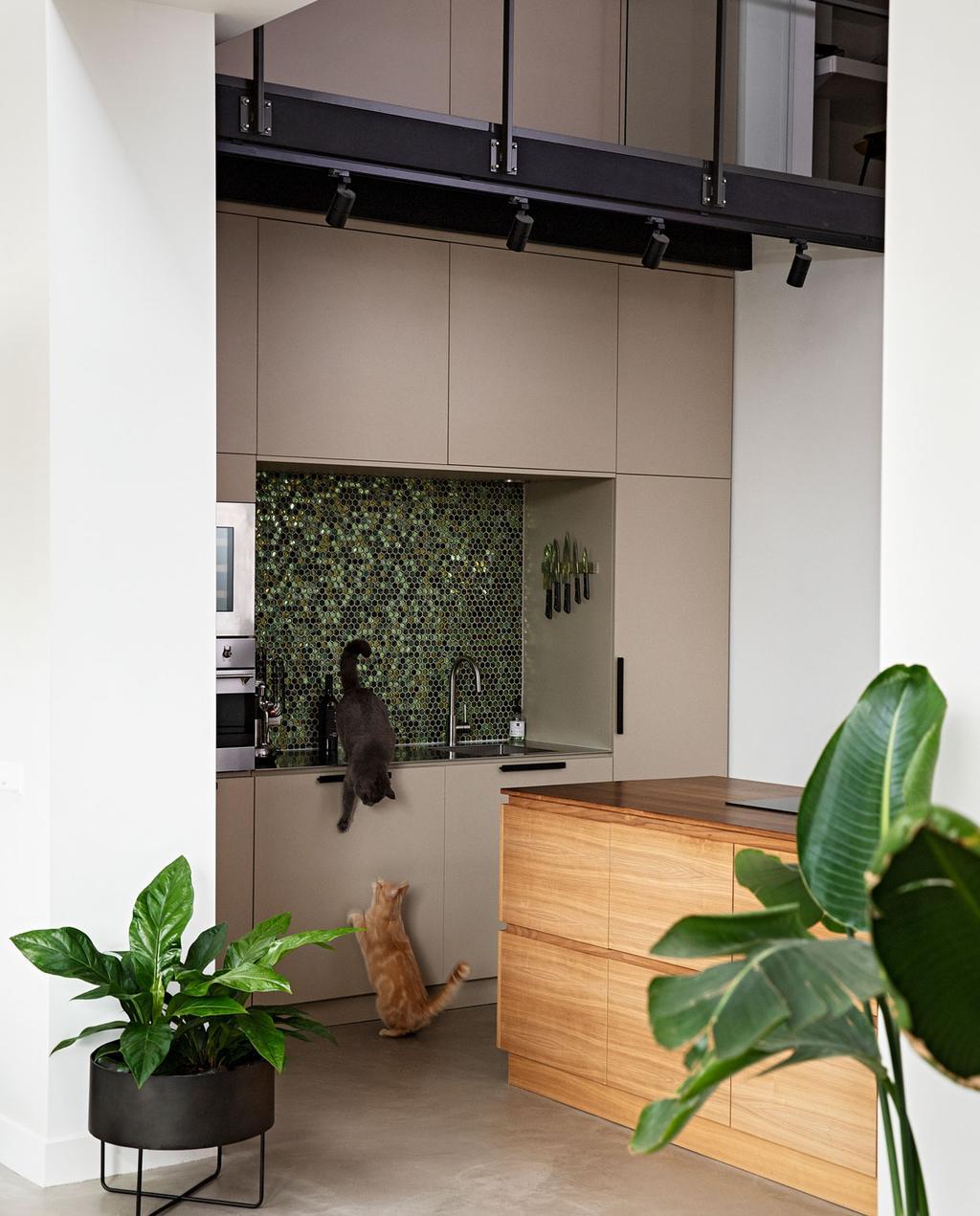 vtwonen 08-2021 | hoge bruine keuken met houten aanrecht en zwart stalen constructie en twee katten