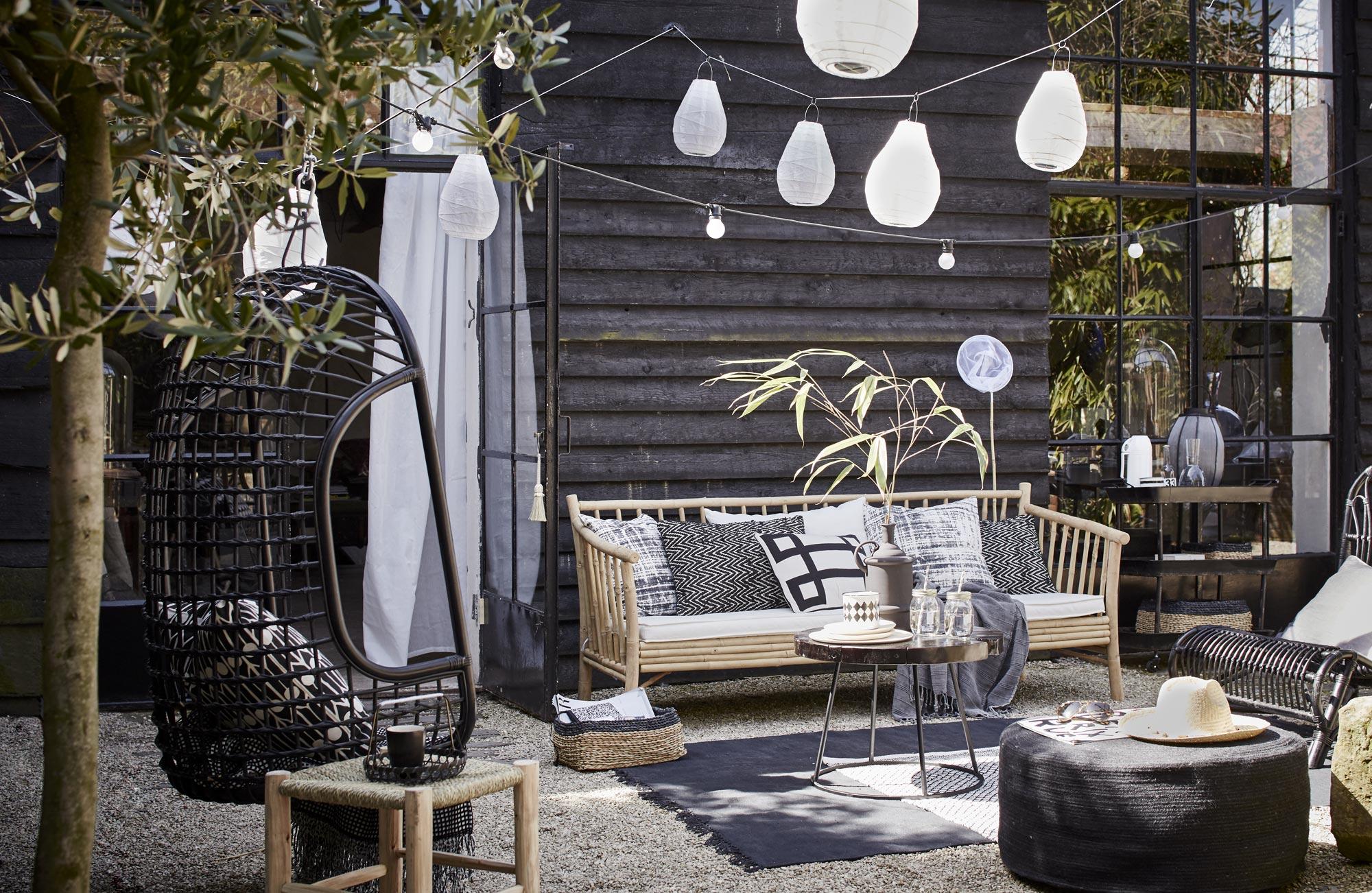 zwart-wit tuin