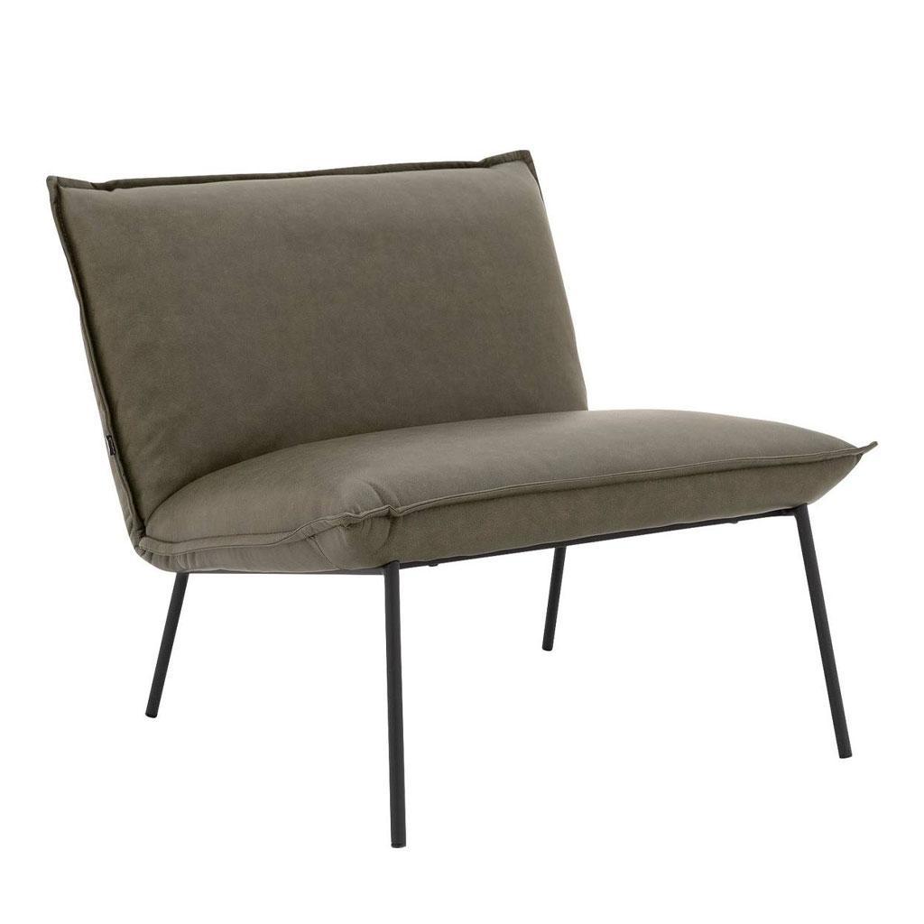 grijze fauteuil met zwarte dunne poten