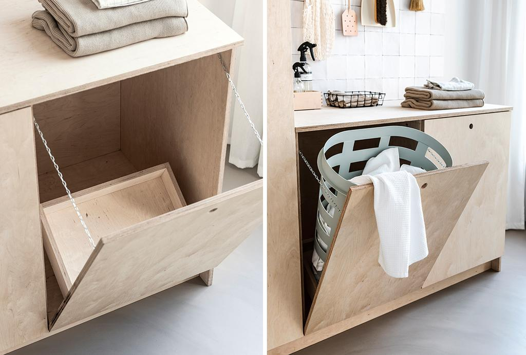 vtwonen DIY wasmeubel lage kast met wasmand
