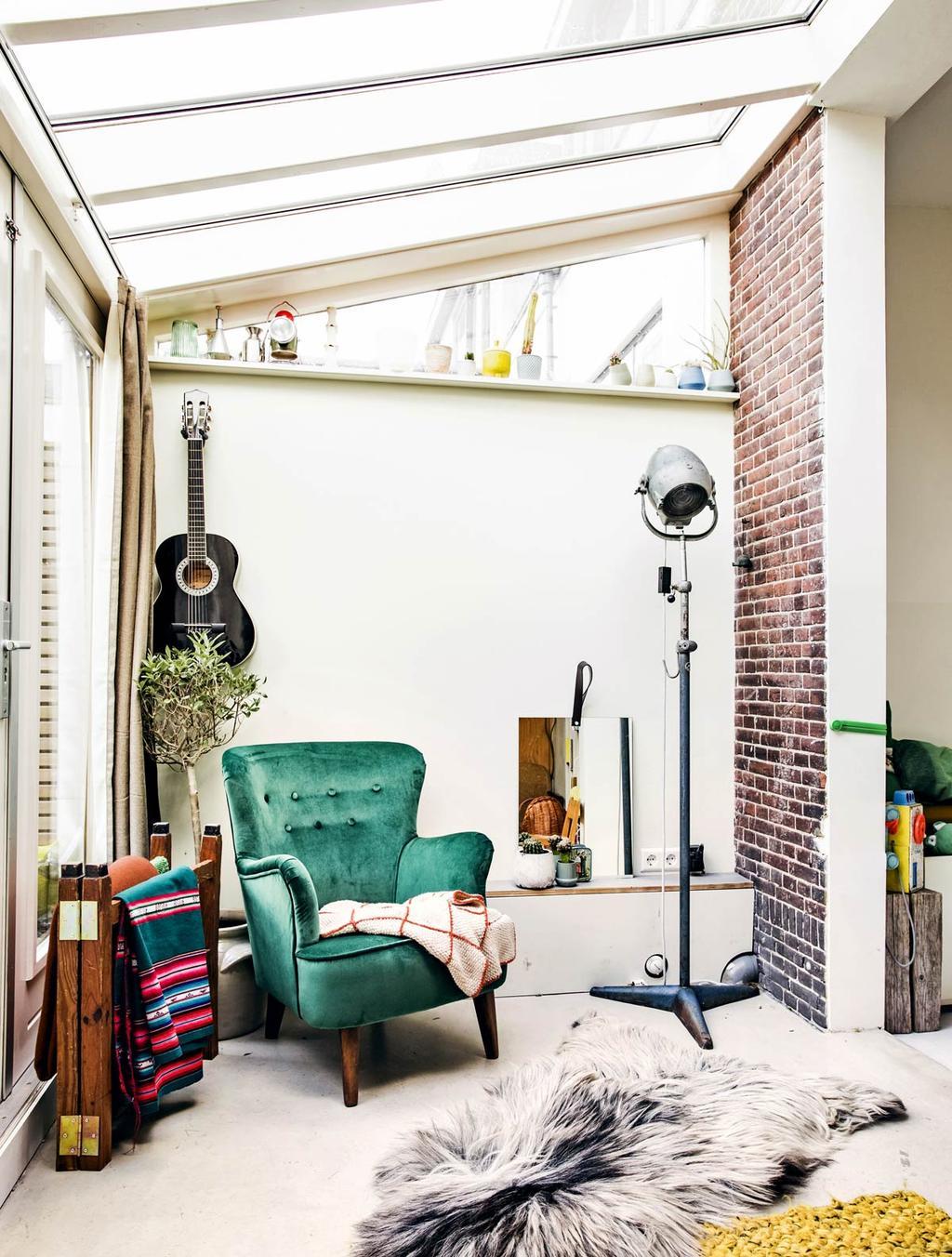 Groene stoel in aanbouw