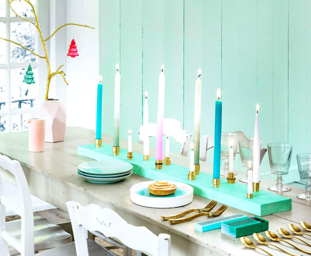 Plank met kaarsen