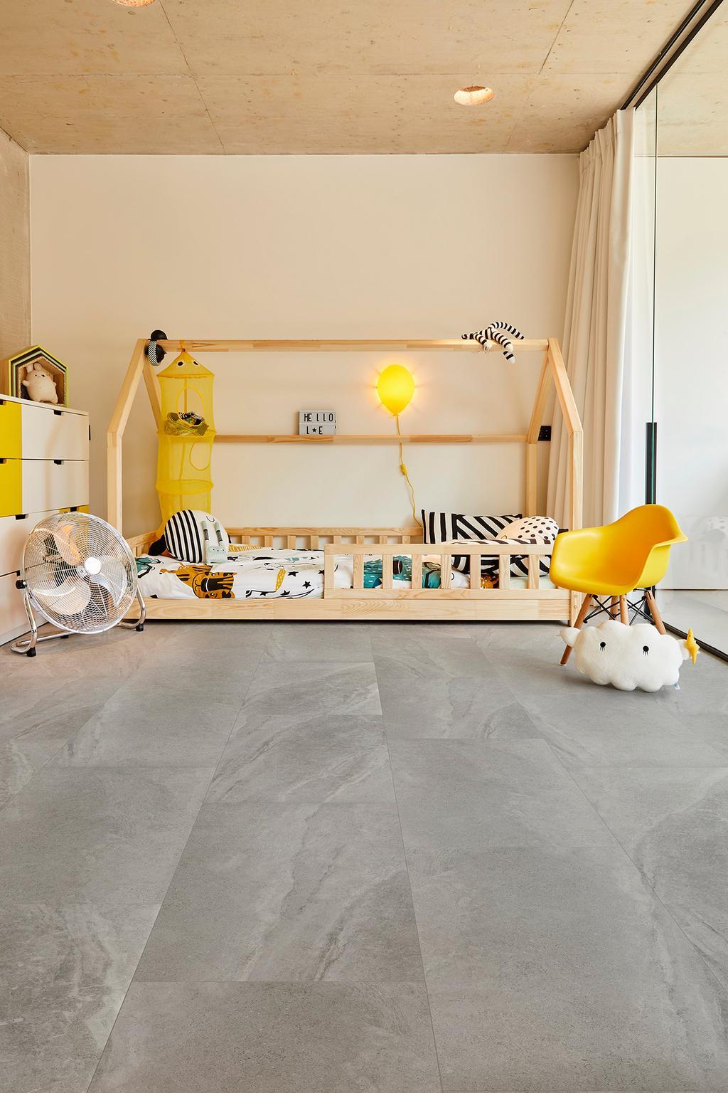 Kinderkamer met grijze vloer Katla van COREtec vloeren