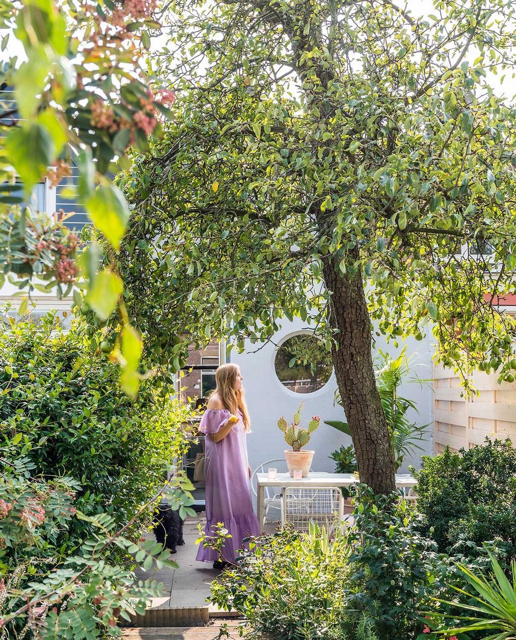 vtwonen special tiny houses 03-2021 | groene tuin van wevershuis met veel planten en bomen