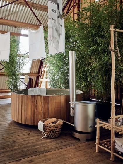 eau bain baignoire de bois