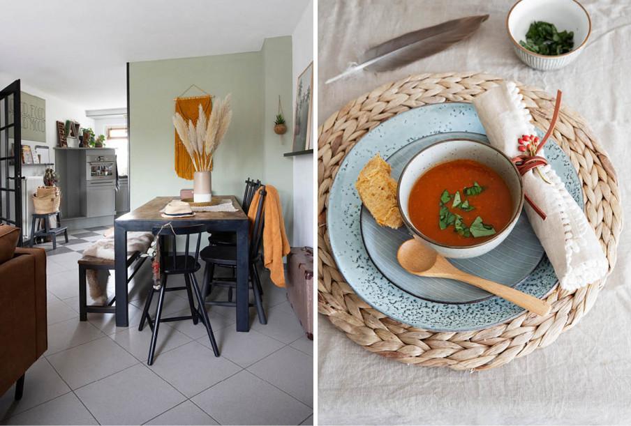 vue table à manger et cuisine mur vert