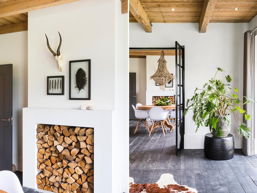 bk 2 eetkamer hout met hanglamp en planten