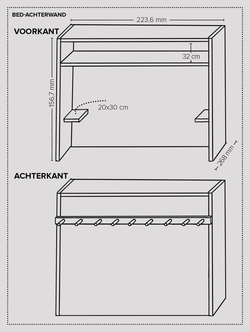 vtwonen 11-2019 | diy large werktekening bed achterwand roomdivider