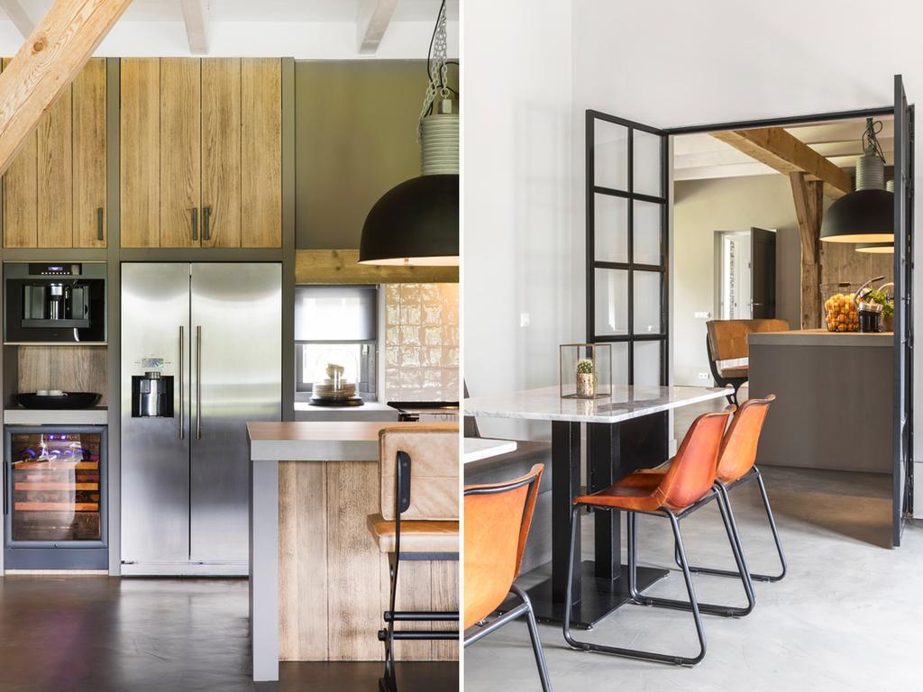 bk 3 keuken en eettafel met bruin en hout