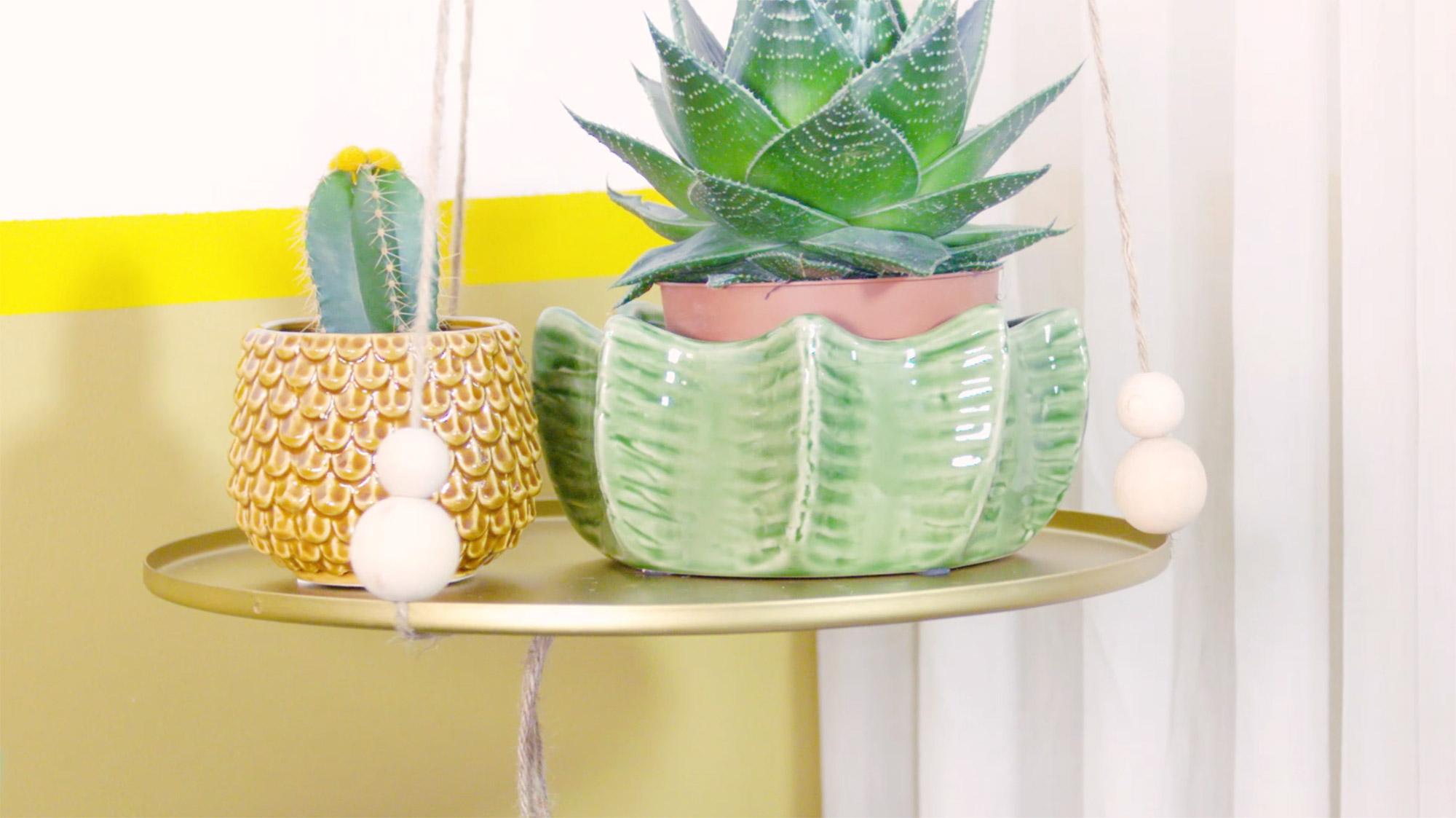 diy zwevende plank met plantjes